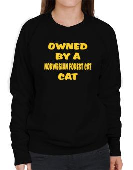 Owned By S Norwegian Forest Cat Sweatshirt-Womens