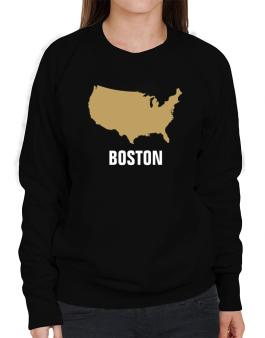 Boston - Usa Map Sweatshirt-Womens