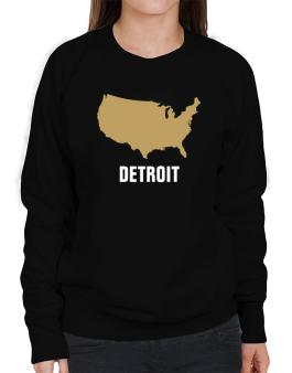 Detroit - Usa Map Sweatshirt-Womens