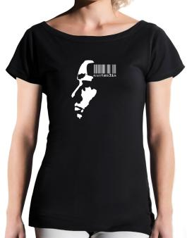 Australia - Barcode With Face T-Shirt - Boat-Neck-Womens