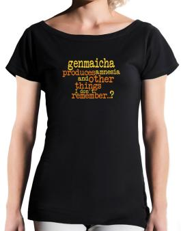 Genmaicha Produces Amnesia And Other Things I Dont Remember ..? T-Shirt - Boat-Neck-Womens