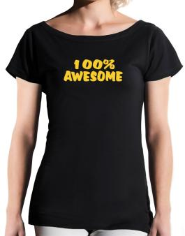100% Awesome T-Shirt - Boat-Neck-Womens