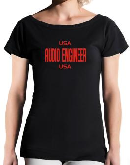 Usa Audio Engineer Usa T-Shirt - Boat-Neck-Womens