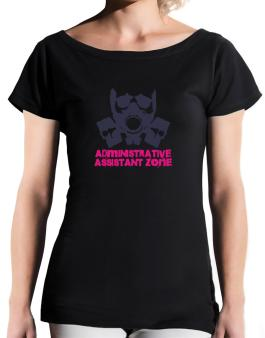 Administrative Assistant Zone - Gas Mask T-Shirt - Boat-Neck-Womens