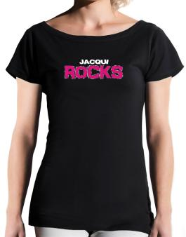 Jacqui Rocks T-Shirt - Boat-Neck-Womens
