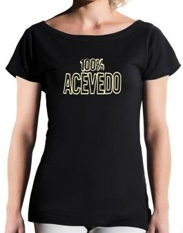 100% Acevedo T-Shirt - Boat-Neck-Womens
