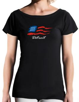 Detroit - Us Flag T-Shirt - Boat-Neck-Womens