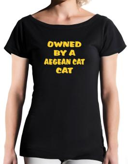 Owned By S Aegean Cat T-Shirt - Boat-Neck-Womens