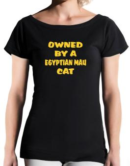Owned By S Egyptian Mau T-Shirt - Boat-Neck-Womens