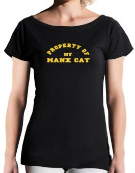 Property Of My Manx T-Shirt - Boat-Neck-Womens