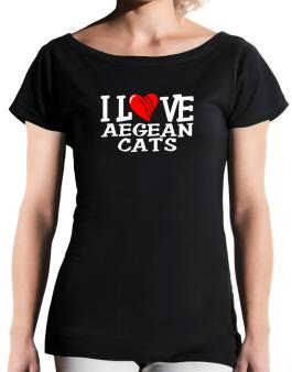 I Love Aegean Cats - Scratched Heart T-Shirt - Boat-Neck-Womens