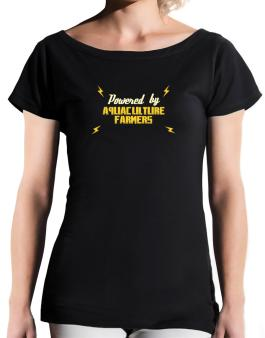 Powered By Aquaculture Farmers T-Shirt - Boat-Neck-Womens