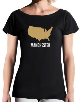 Manchester - Usa Map T-Shirt - Boat-Neck-Womens