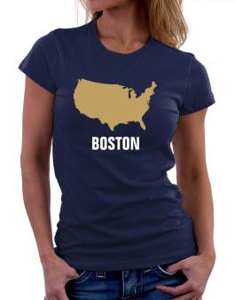 Boston - Usa Map Women T-Shirt