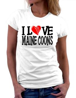 I Love Maine Coons - Scratched Heart Women T-Shirt