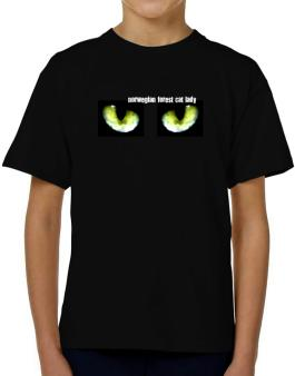 Norwegian Forest Cat Lady T-Shirt Boys Youth