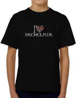 I love Broholmer colorful hearts T-Shirt Boys Youth