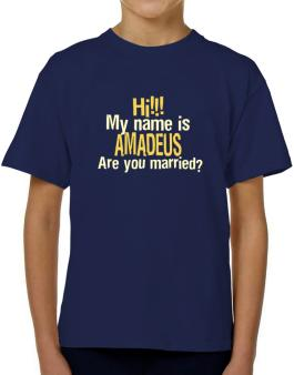Hi My Name Is Amadeus Are You Married? T-Shirt Boys Youth