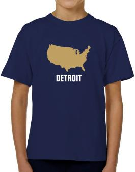 Detroit - Usa Map T-Shirt Boys Youth