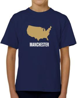 Manchester - Usa Map T-Shirt Boys Youth