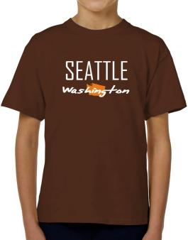 """"""" Seattle - State Map """" T-Shirt Boys Youth"""