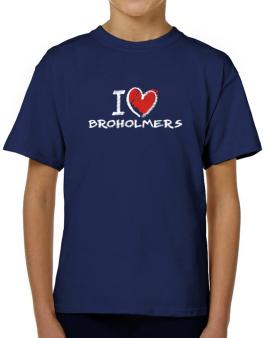 I love Broholmers chalk style T-Shirt Boys Youth