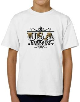 Usa Library Assistant T-Shirt Boys Youth