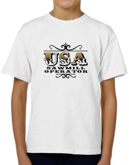 Usa Sawmill Operator T-Shirt Boys Youth