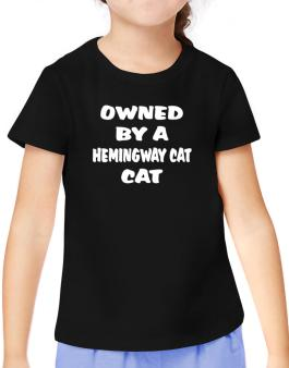 Owned By S Hemingway Cat T-Shirt Girls Youth