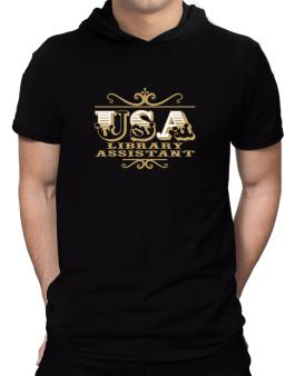 Usa Library Assistant Hooded T-Shirt - Mens