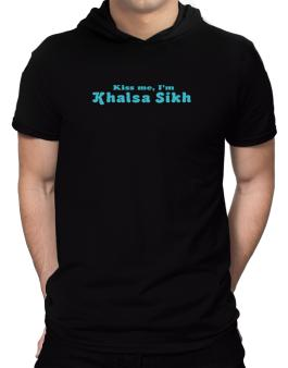 Kiss Me, Im Khalsa Sikh Hooded T-Shirt - Mens