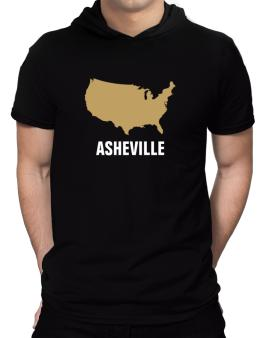 Asheville - Usa Map Hooded T-Shirt - Mens