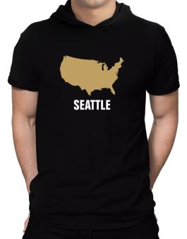 Seattle - Usa Map Hooded T-Shirt - Mens