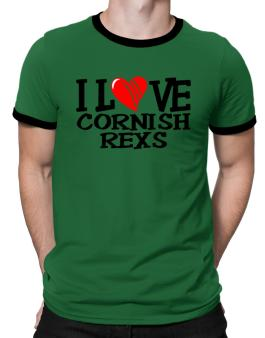 I Love Cornish Rexs - Scratched Heart Ringer T-Shirt