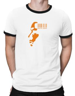 Costa Rica - Barcode With Face Ringer T-Shirt