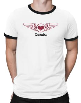 Canada - Gothic Heart With Wings Ringer T-Shirt