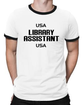 Usa Library Assistant Usa Ringer T-Shirt