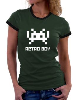 Retro Boy Women Ringer T-Shirt