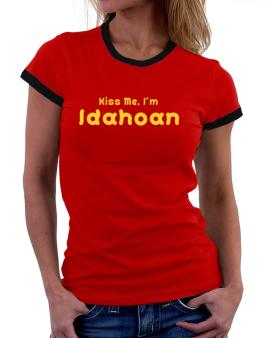 Kiss Me, I Am Idahoan Women Ringer T-Shirt