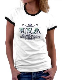 Usa Library Assistant Women Ringer T-Shirt