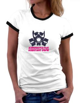 Administrative Assistant Zone - Gas Mask Women Ringer T-Shirt