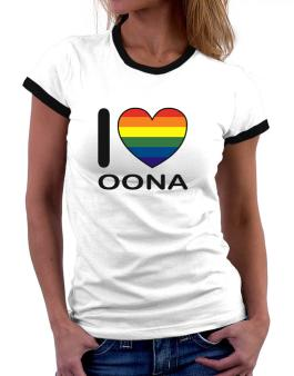 I Love Oona - Rainbow Heart Women Ringer T-Shirt