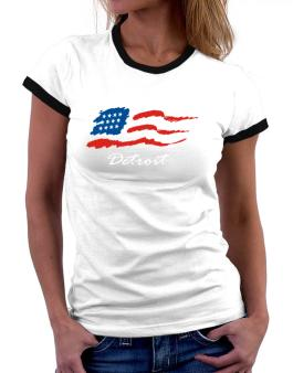 Detroit - Us Flag Women Ringer T-Shirt