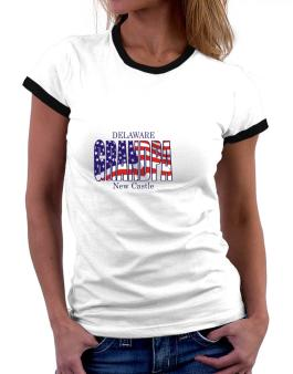 Grandpa New Castle - Us Flag Women Ringer T-Shirt