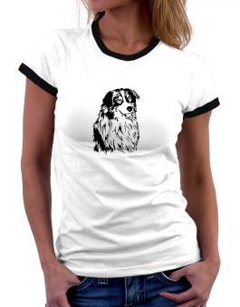 Australian Shepherd Face Special Graphic Women Ringer T-Shirt