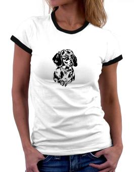 Dachshund Face Special Graphic Women Ringer T-Shirt