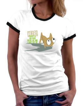 Hekp! Theres An Euro Chausie In My Lap And I Cant Get Up. Women Ringer T-Shirt