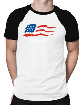 Detroit - Us Flag Raglan T-Shirt