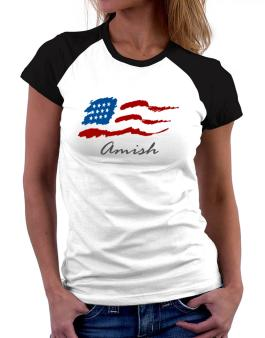 Amish - Us Flag Women Raglan T-Shirt