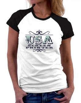 Usa Screen Printer Women Raglan T-Shirt